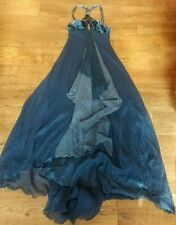 Bebe Silk Blue Halter Bead Embellish Assymetric Sheer Maxi Formal Dress Gown S