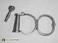 VINTAGE  ( CIRCA 1800's )  IRON HANDCUFFS SCREW TYPE WITH KEY