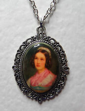 """1.5"""" decal CAMEO LADY IN PINK SCARF VICTORIAN STYLE DK SILVER PLATED PENDANT HAT"""