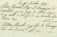 Camaldoli 1819 Ricevuta di Pietro Romoli per Nolo di Arcale e Acquisto di Travi