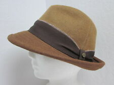 "New Medium size 7 Stetson Wool Felt 3-Tone Brown Fedora Hat 2"" Stingy Brim 56cm"