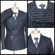 SARTORE Blue Striped Super 100s Wool Double Breasted Peak Suit 48 8R 38 R NWT!