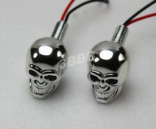 Chrome Skull LED Licence plate bolts Number plate - Red