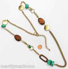 Chico's Signed Necklace Long Gold Tone Chain & Disks Chunky Green & Wood Beads