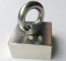 N50 Large Square Block Neodymium Magnets 50x50x25mm Lifting 10mm hole With Hook