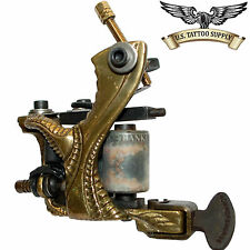 "Custom Carved Brass ""GX"" Tattoo Machine with Free 9 Mag Needle Tube Combo 10pk"