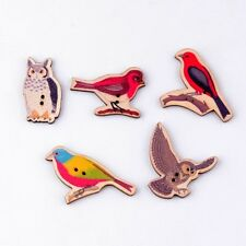 10x Wooden Mixed Birds and Owl Buttons