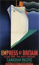 Empress of Britain Vintage Cruise Travel Poster Rolled CANVAS ART PRINT 24x37 in