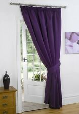 Plum Purple 66'' x 84'' Supersoft Blackout Thermal Pencil Pleat  Door Curtain