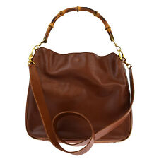 Authentic GUCCI Logos 2Way Bamboo Shoulder Hand Bag Leather Brown Gold 03P229