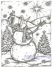 Christmas Snowman and Star Scene Wood Mounted Rubber Stamp NORTHWOODS P3831 New