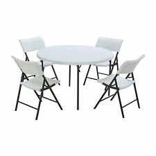 "Combo-One 48"" Round Foldable Commercial Table 4 Folding Chairs White AB467214"