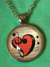 Music Note Treble Cleft Glass Dome Cabochon Pendant Necklace Set. Silver Plated.