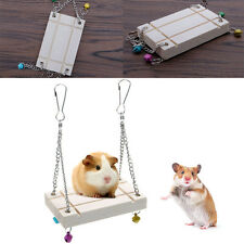 Pet Hamster Seesaw Wooden Swing Cage Toys Harness Parrot Hanging Bell Suspension