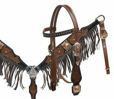 Tooled Leather Bridle & Breastcollar Set w/ Antique Conchos & Fringe! NEW TACK!!