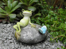 Miniature Dollhouse FAIRY GARDEN ~ Frog Resting on Stone with Butterfly  ~ NEW
