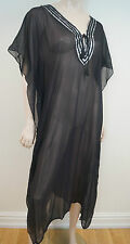 TARA MATTHEWS Black 100% Silk Silver Trim Sheer Kaftan Cover Up Beach Dress Sz M