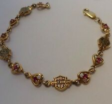 Harley Davidson 10K Gold Bracelet Link Garnet January Heart Beautiful