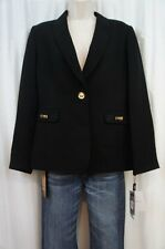 Tahari ASL Suit Jacket Petite Sz 8P Black Gold FRANKIE 1 Button Career Blazer
