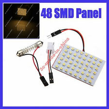Warm White 48 SMD 3528 LED Dome/Door/Box Light Panel Interior Bulb+T10 Adapter