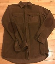 Ralph Lauren Mens  Brown Polo Country Corduroy Leather Elbow Patch Hunting Shirt
