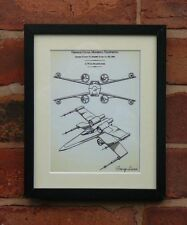USA Patent Drawing STAR WARS FILM X WING STARFIGHTER Luke MOUNTED PRINT 1980
