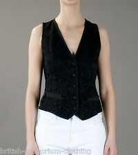 DOLCE & GABBANA Black FLORAL LACE Waistcoat BNWT IT38 UK6 EUR32 Made In Italy