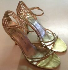 CHINESE LAUNDRY Wesley Strappy 8.5 Gold Retail $69 Holiday High Heels Dressy SEE