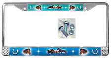 Horses Blues Teal License Plate Frame Gifts Horse Polished Metal TXT