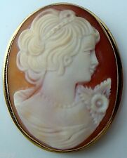 VINTAGE 585 14K YELLOW GOLD HAND CARVED SHELL CAMEO PIN BROOCH PENDANT RARE