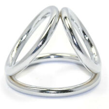 TRI METAL PENIS RING RINGS CHASTITY ERECTION ENHANCER IMPOTENCE SEX AID