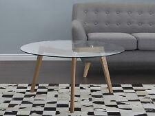 Table basse, Table d`appoint ronde, Plateau en verre, Pieds en bois, Moderne