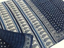 Indigo Bagru Cotton saree Handblock Printed  - Summer cool Polka