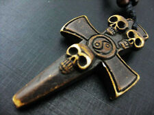 Men Vintage Ethnic Tribal Carving Cool Cross Skull TAIJI Necklace