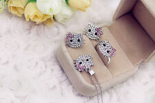 SUPER Sparkling Silver Hello Kitty Jewelry Set: Necklace Ring & Earring