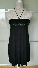 Ladies H&M Long Black Top with Sequins - Size 8