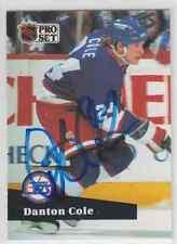 Autographed 91/92 Pro Set Danton Cole - Jets