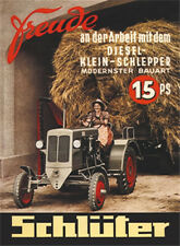 Schlüter 15 hp tractor metal sign 8x11 cm sheet map sign-PC 201/532