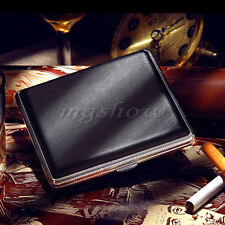 Pocket Leather Metal 20 pcs Tobacco Cigarette Hold Holder Case Smoke Storage Box