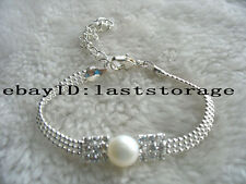 "white freshwater pearl coin bracelet 7.5"" nature wholesale beads fashion gift"