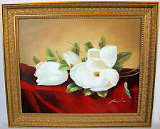 Heade Giant Magnolias Hand Painted Oil Painting Framed Repro 25x30