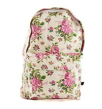 Sass and Belle Girls Backpack School Bag Vintage Floral Cream with Pink Roses
