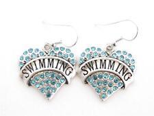 Swimming Silver Plated Blue Crystal Heart Hook Earrings Jewelry Swimmer Swim