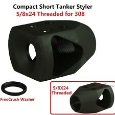 5/8x24 Thread Short Compact Mini Tanker Style Muzzle Brake for 308 .308