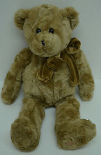 House of Lloyd Cappuccino Teddy Bear Plush Brown Curly Bean Bag Velour Bow 18""