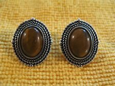 Sterling Silver Earrings with Tiger Eye Pierced Thailand 10.0g