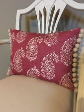 Raspberry Paisley Fabric Cushion Cover & Pom Pom Trim