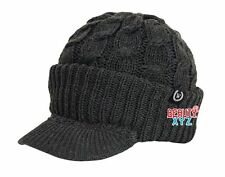 Unisex Chunky Cable Knit Visor Brim Winter Hat Beanie Thick & Warm Men Women NEW