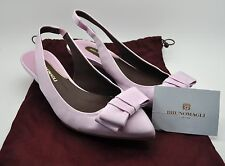 BRUNO MAGLI Lavender Purple Grosgrain Bow Kitten Heels Shoes Sz 37 US 7 NEW