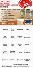 New 100 Clear Round Spice Pantry Labels Clear With Black Lettering Kitchen Jars